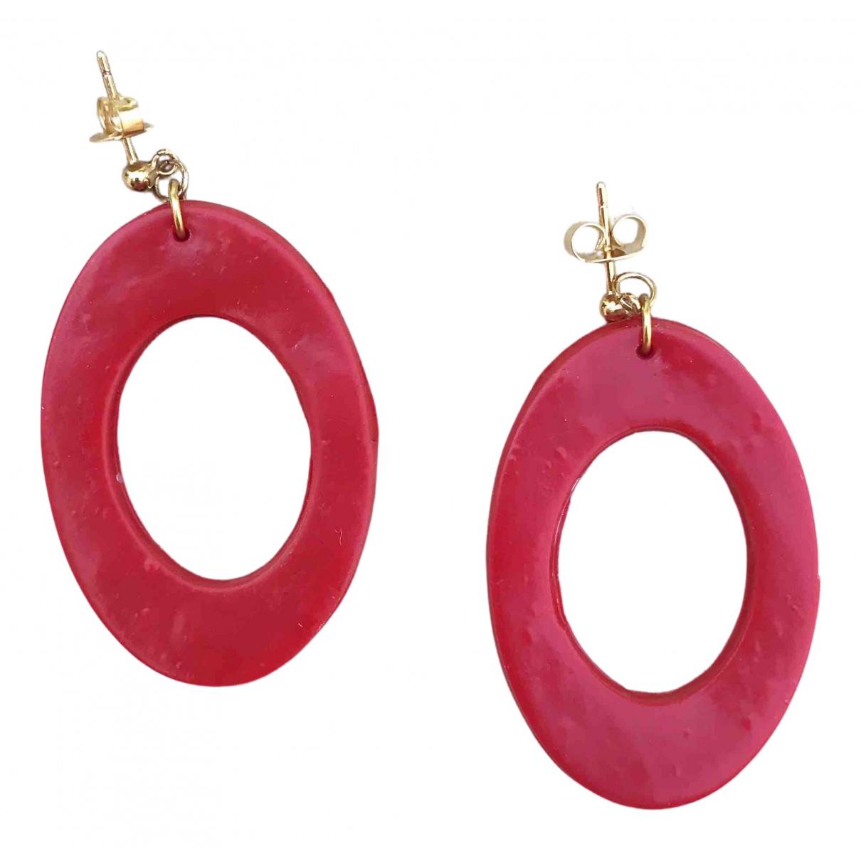 - Boucles doreilles Creoles pour femme - rouge