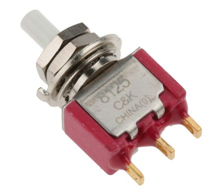 C & K Single Pole Double Throw (SPDT) Momentary Push Button Switch, 15.24 x 12.70mm, Panel Mount
