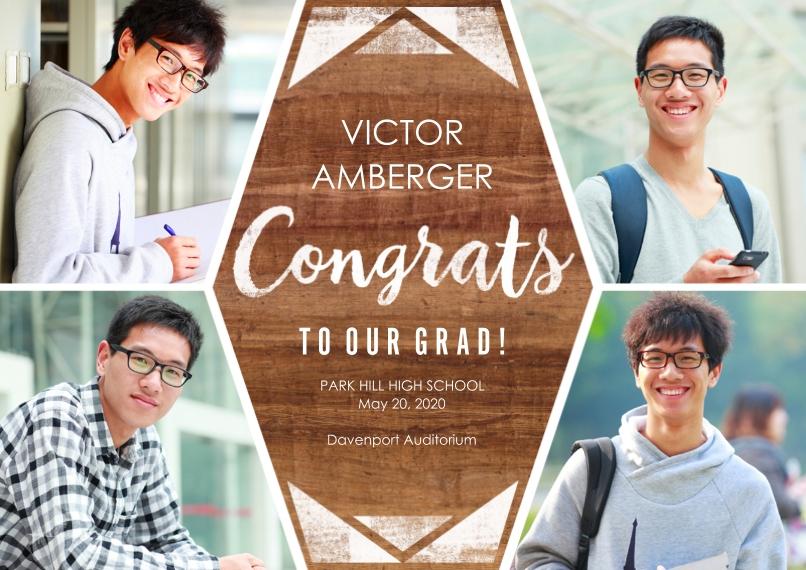 Graduation Announcements 5x7 Cards, Premium Cardstock 120lb, Card & Stationery -Woodgrain Congrats