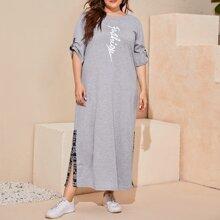 Plus Roll Up Sleeve Letter Graphic Split Side Dress