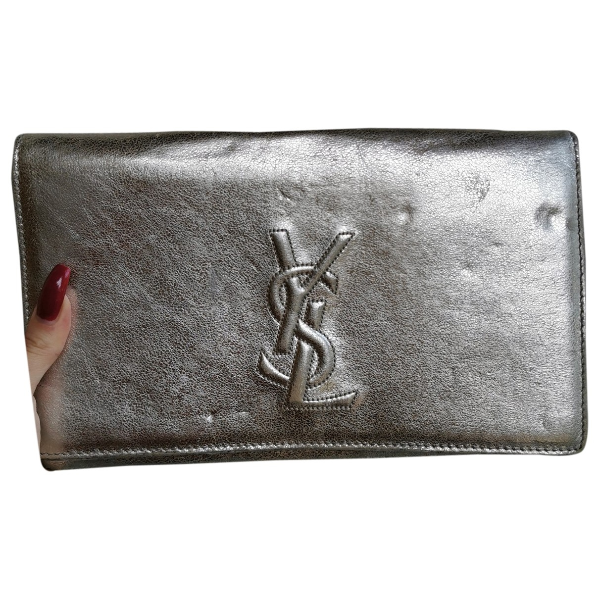Saint Laurent \N Silver Leather Clutch bag for Women \N