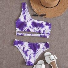 Tie Dye Cut-out One Shoulder Bikini Swimsuit