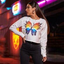 Butterfly Print Drop Shoulder Sweatshirt