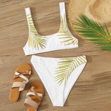Bikini mit Palme Muster und hohem Ausschnitt
