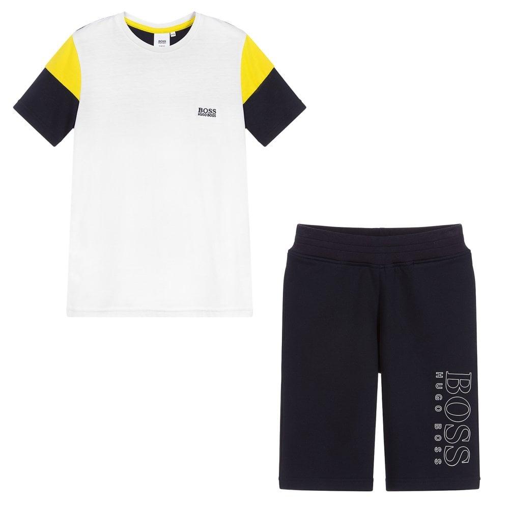 Hugo Boss Kids T-Shirt & Shorts Set Colour: WHITE, Size: 16 YEARS