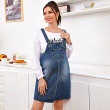 Maternity Denim Overall Kleid mit Taschen Flicken