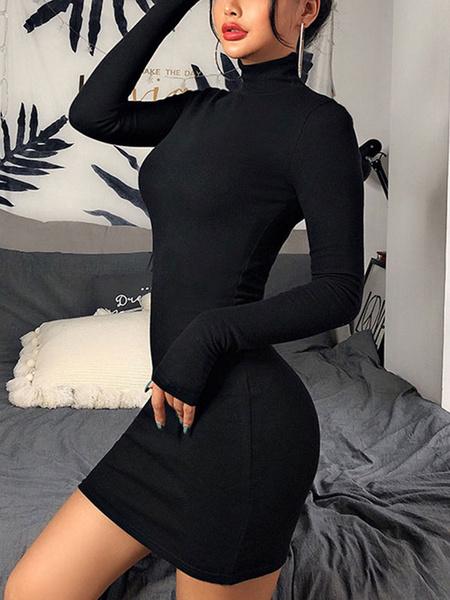 Milanoo Bodycon Dresses Stand Collar Long Sleeves Pencil Dress