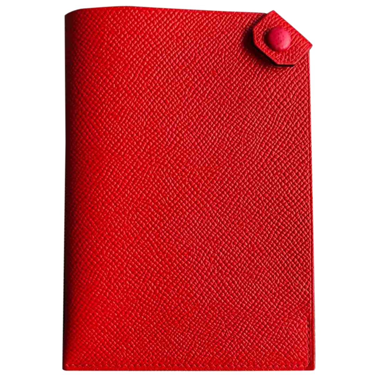 Hermes - Petite maroquinerie Tarmac pour femme en cuir - rouge