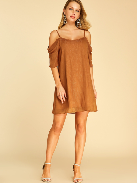 YOINS Coffee With Lining Cold Shoulder Short Sleeves Dress