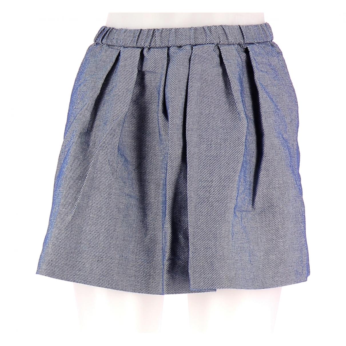 Maje \N Blue Cotton skirt for Women 36 FR