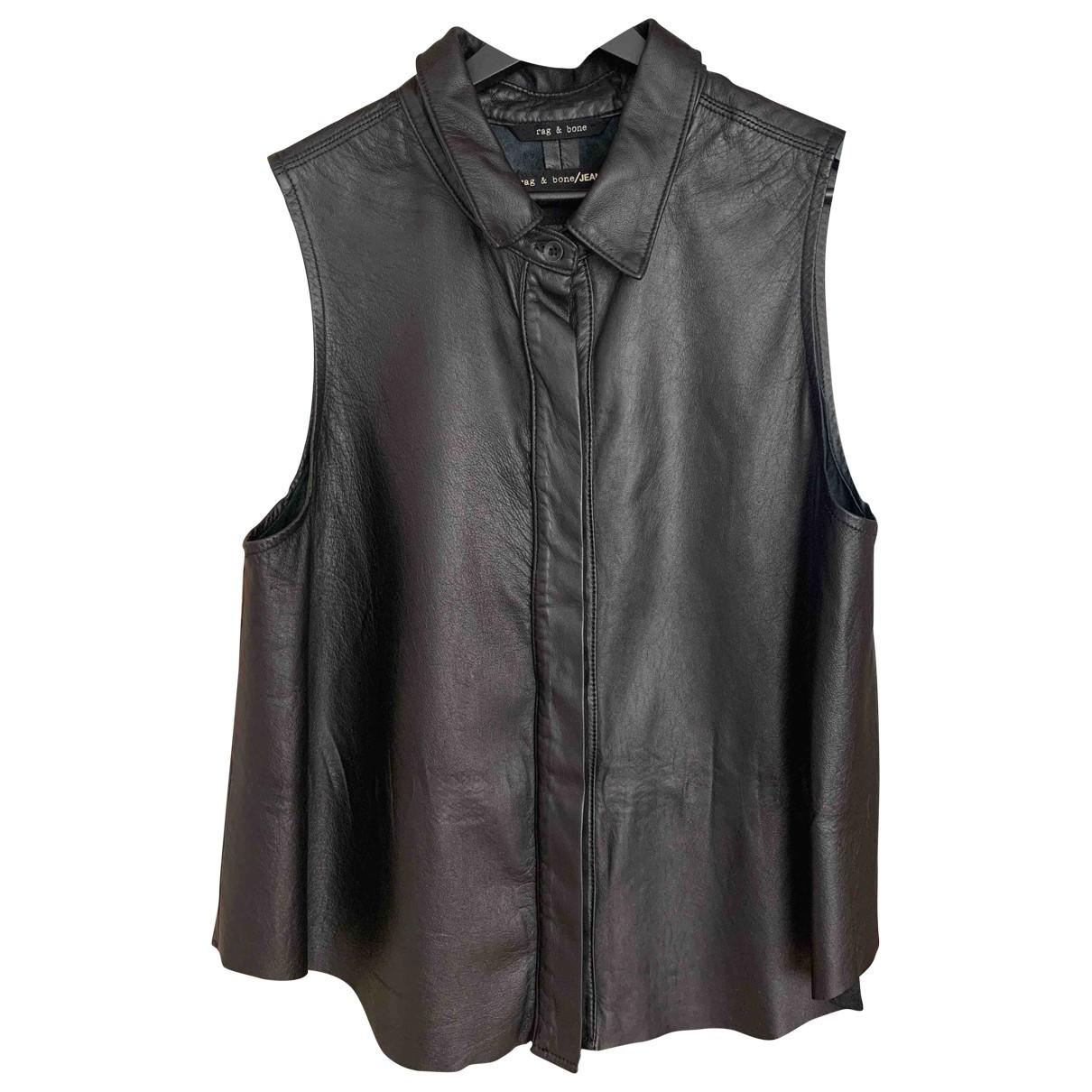 Rag & Bone \N Black Leather  top for Women M International
