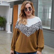 Sweatshirt mit Farbblock, Chevron Muster und sehr tief angesetzter Schulterpartie