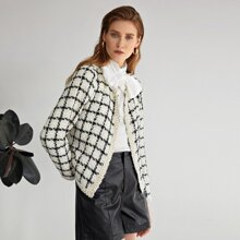 Open Front Pearls Beaded Tape Trim Plaid Tweed Jacket