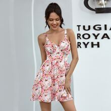 Double Crazy Ruched Bust Floral Cami Dress