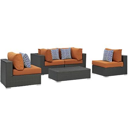 Sojourn Collection EEI-2378-CHC-TUS-SET 5-Piece Outdoor Patio Sunbrella Sectional Set with Coffee Table  2 Armless Chairs and 2 Corner Sections in