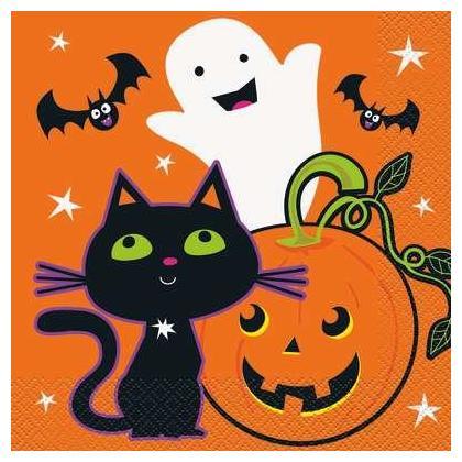 Cat & Pumpkin Happy Halloween Luncheon Napkins 16Pcs/Pack