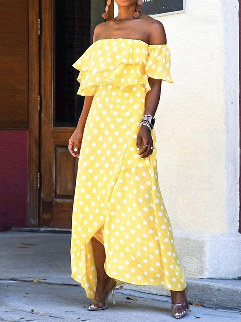 Ericdress Off Shoulder Polka Dots Falbala Ankle-Length Asymmetrical Dress