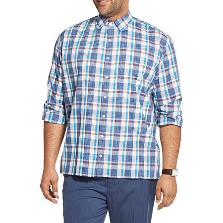 Van Heusen Big and Tall Mens Long Sleeve Plaid Button-Down Shirt, 4x-large Tall , Blue