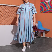 Plus Split Hem Striped Shirt Dress