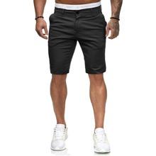 Men Slant Pockets Button Fly Bermuda Shorts