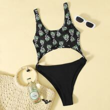Halloween Print Cut Out One Piece Swimsuit