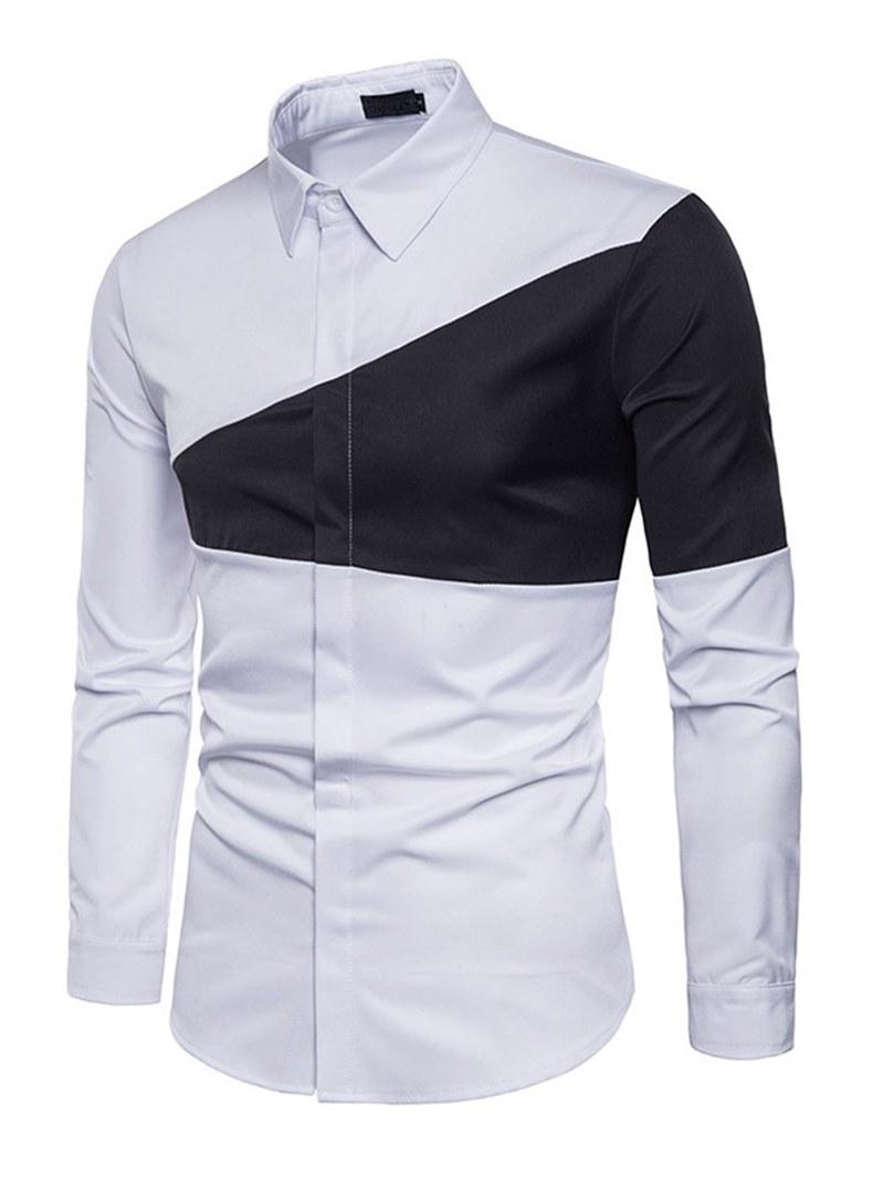 Ericdress Color Block Slim Lapel Mens Casual Shirts