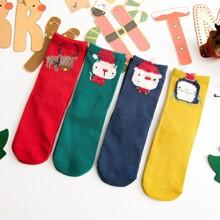 4 Paare Kleinkind Kinder Socken mit Weihnachten Hirsch Dekor