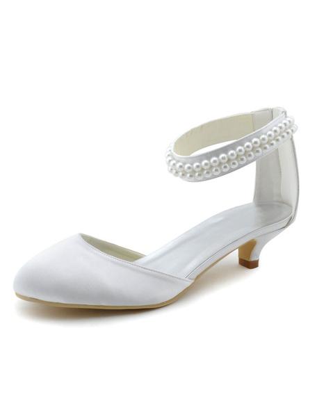 Milanoo Zapatos de novia de seda sintetica Zapatos de Fiesta de tacon de kitten Zapatos blanco  Zapatos de boda de puntera redonda 4cm con perlas
