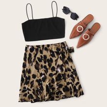 Crop Cami Top and Tie Side Wrap Skirt Set