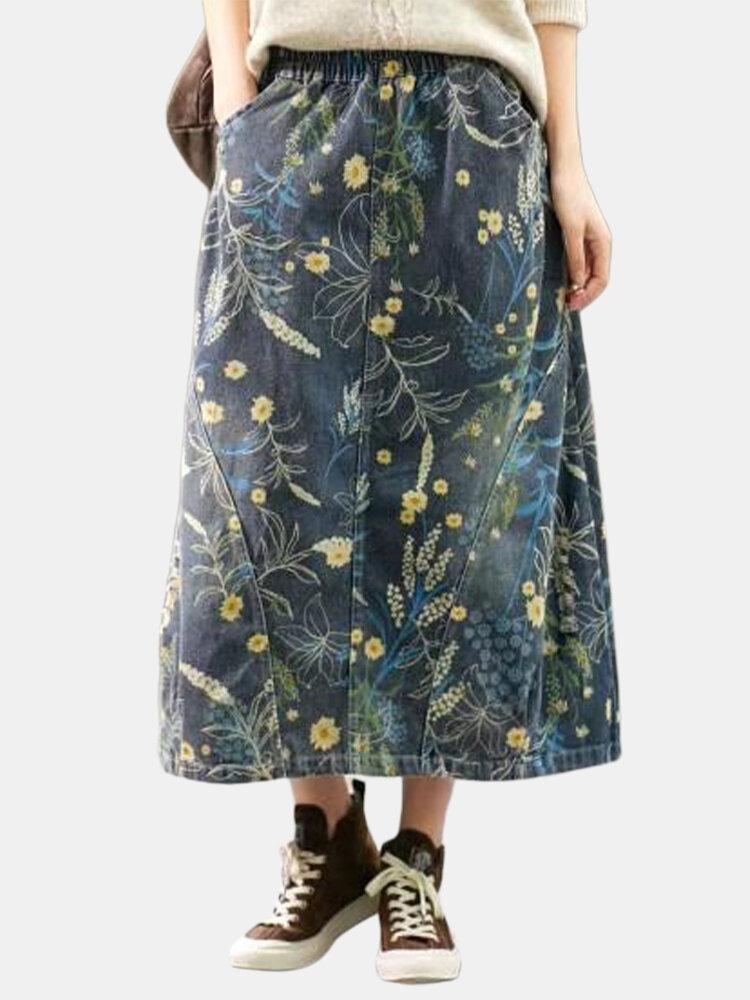 Vintage Print Floral Side Pockets Elastic Waist Ethnic Skirt