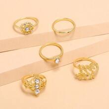 5 Stuecke Ring mit Strass Dekor