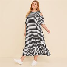 Plus Cold Shoulder Ruffle Hem Striped Dress