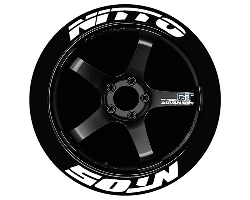 Tire Stickers NIT05-1921-75-4-W Permanent Raised Rubber Lettering 'Nitto NT05' - 4 Of Each - 19
