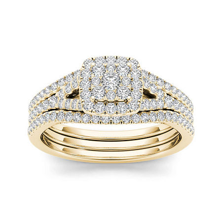 3/4 CT. T.W. Diamond Cluster 10K Yellow Gold Bridal Ring Set, 8 , No Color Family