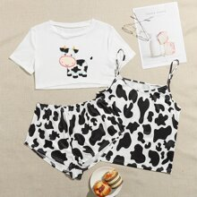 3 Pack Cow Embroidery Pajama Set