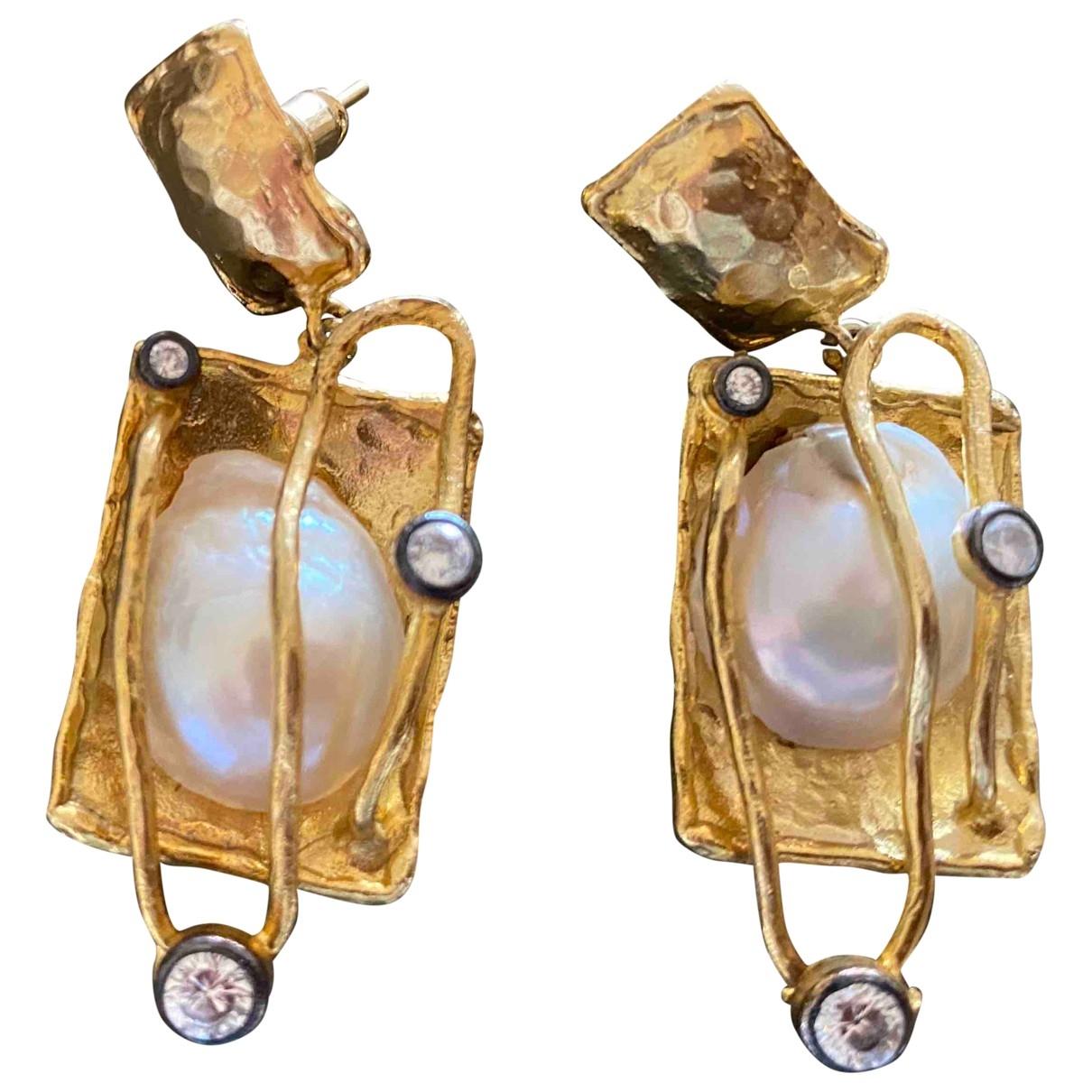 - Boucles doreilles   pour femme en or et acier - dore