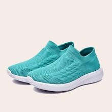 Textured Knit Slip On Sneakers
