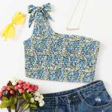 Knot Strap Shirred Ditsy Floral Top