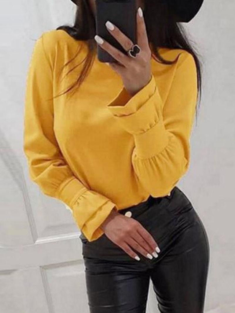 Ericdress Plain Flare Sleeve Round Neck Standard Long Sleeve Blouse