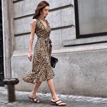 Surplice Neck Belted Ruffle Hem Leopard Dress