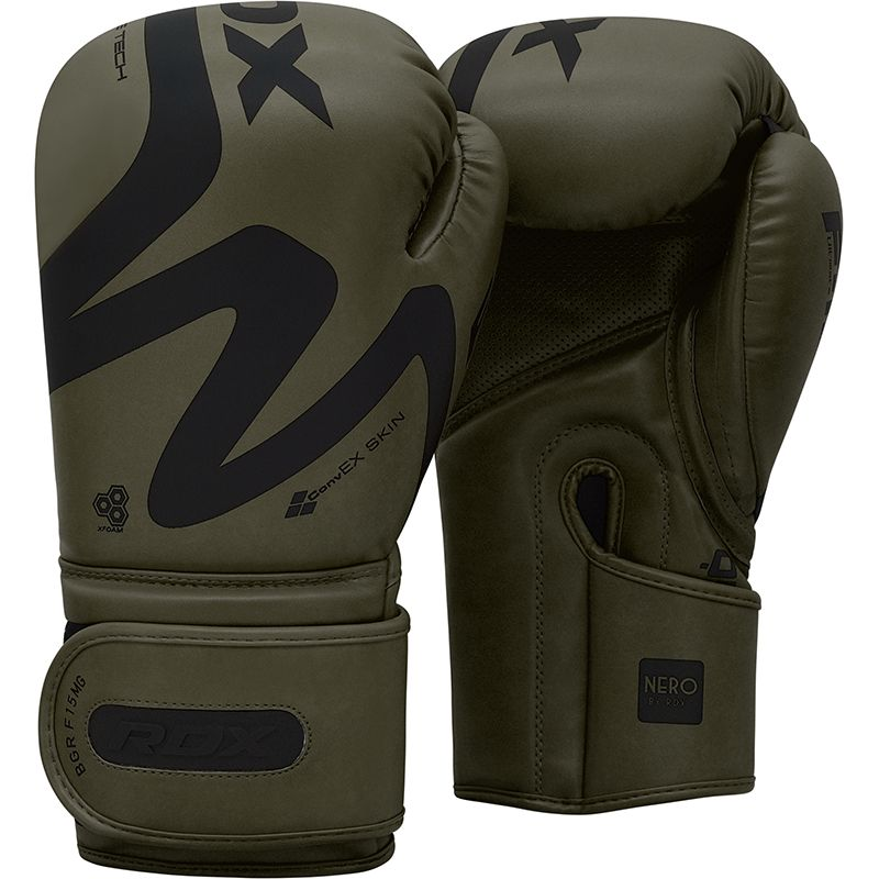 RDX F15 Matte Green 12oz Boxing Training Gloves Hook and Loop Men and Women Punching Muay Thai Kickboxing