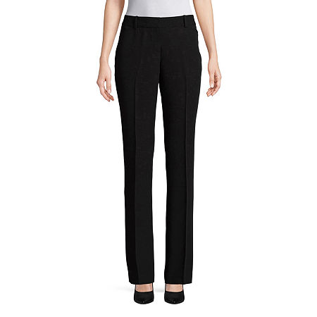 Worthington Womens Straight Leg Perfect Trouser, 14 Petite , Black
