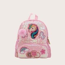 Girls Pom Pom & Sequins Decor Cartoon Graphic Backpack