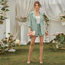 Gruen Mit Guertel  Einfarbig Elegant Zweiteiliger Anzug