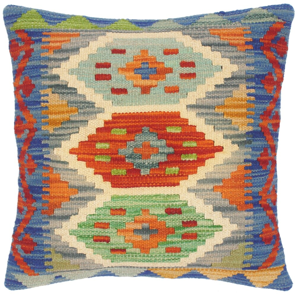 Shabby Chic Maryelle Hand-Woven Turkish Kilim Pillow 17 in. x 18 in. (Accent - 17 in. x 18 in. - Polyester - Rust - Single)