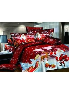 Christmas Gift Cotton Happy Red Santa Claus 4 Piece Duvet Cover Sets