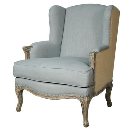393039-SBB Marie Collection 32 Accent Chair with Nail Head Accent  Stitching Details  Padded Armrest  Cushion Seat  Solid Birch Frame and Fabric