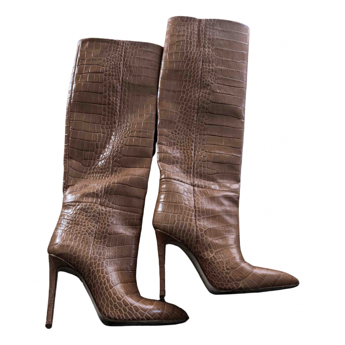 Paris Texas N Brown Leather Boots for Women 36 EU
