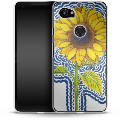 Google Pixel 2 XL Silikon Handyhuelle - Sunflower Drawing von Kaitlyn Parker