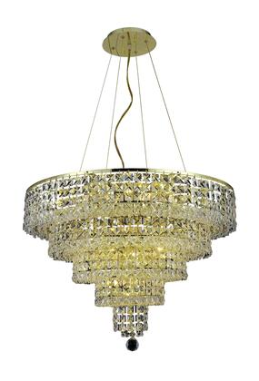 2037D26G/RC 2037 Maxim Collection Hanging Fixture D26in H20in Lt: 14 Gold Finish (Royal Cut